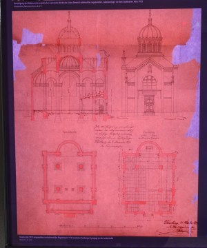 Zeichnung und Grundriss der Synagoge,, die zwischen 1875 und 1938 an der Junkernstraße stand. Dort steht heute eine evangelische Gedenkkapelle. Foto: Petra Grünendahl.