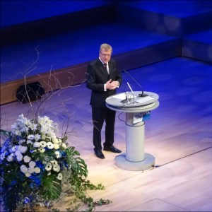 Präsident Burkhard Landers beim IHK-Neujahrsempfang in der Duisburger Mercatorhalle. Foto: Petra Grünendahl.