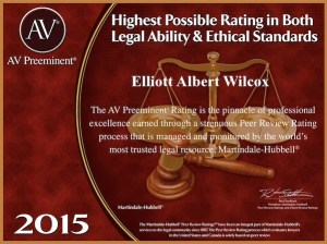 Tampa DUI lawyer Elliott Wilcox received the 2015