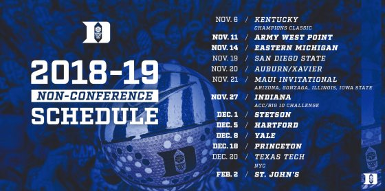 Duke Basketball Unveils 2018-19 Non-Conference Schedule