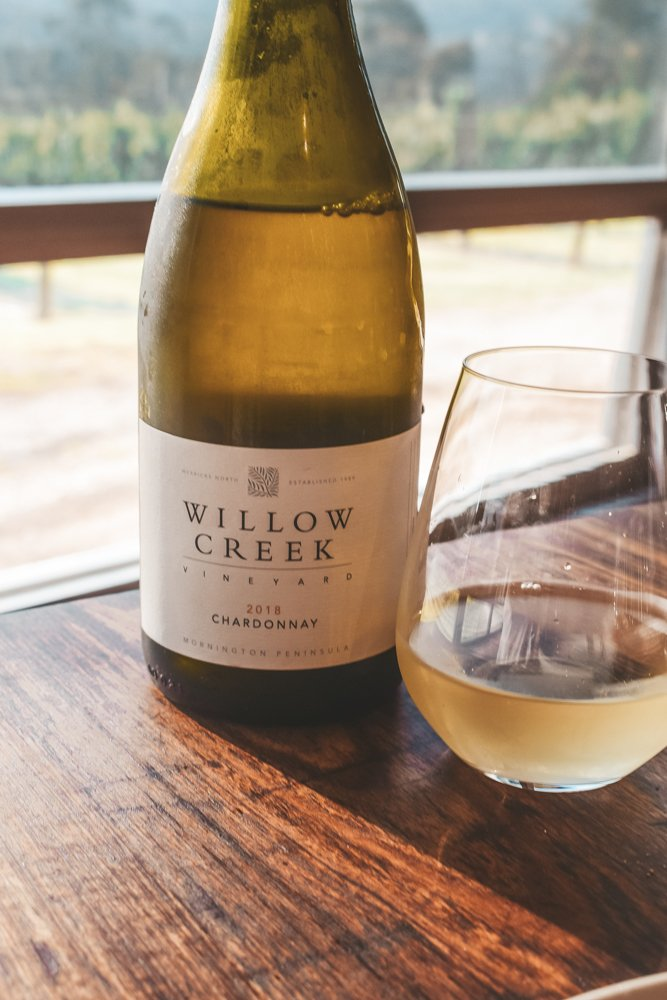A bottle of Willow Creek - wine tasting steps