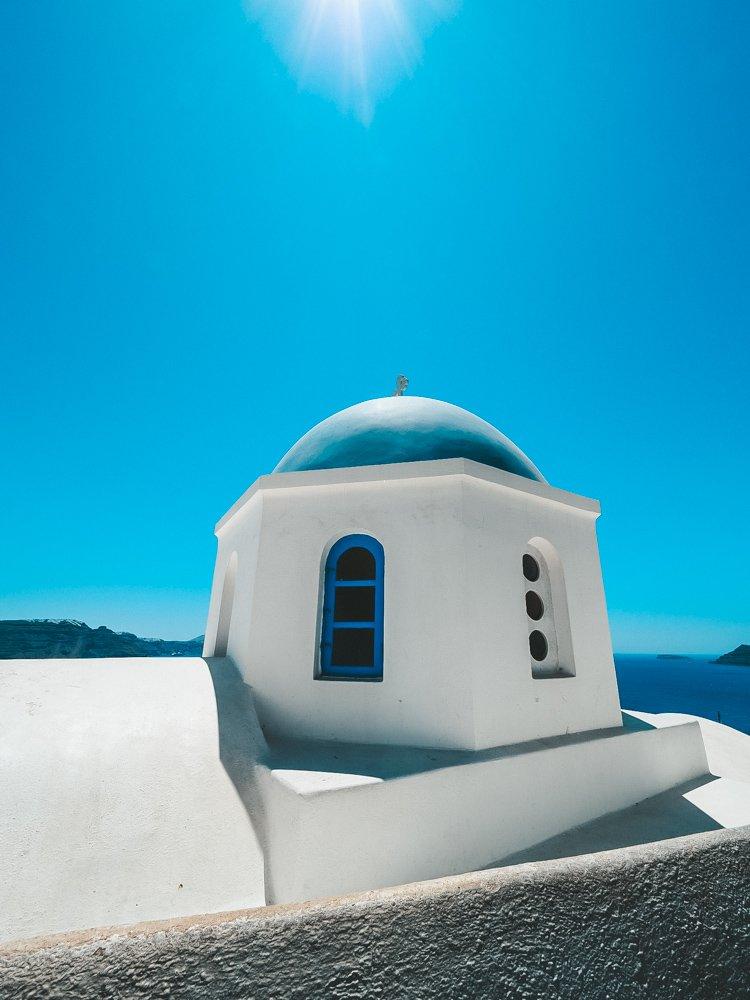 A blue dome in Oia Santorini