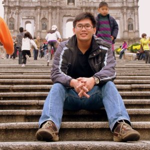 Sitting on the steps of St. Paul's Cathedral in Macau