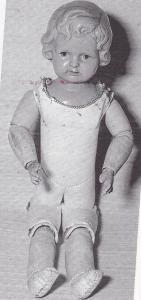 Pigen her tv er en af de ældre dukker fra ca. 1915—Hun har krop syet af gedeskind med universal-led i benene— arme af træ med kugleled —skulderhoved af celluloid med modelleret frisure, prægede, blå øjne og lukket mund. Mærket PH i rude og derunder tallet 6.