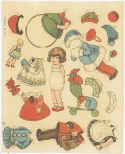 """Den lille pige her bærer over kjolen nederst th et hvidt """"Hængeforklæde"""", (se større format th.), som helt tydeligt er et """"Pynteforklæde"""" med sin rynkede flæse og den lille pyntelige lomme!!"""