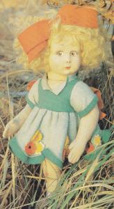 """Kæk og skælmsk og """"helt alene i skoven?"""" Charmerende 33 cm høj dukke fra ca. 1925!"""