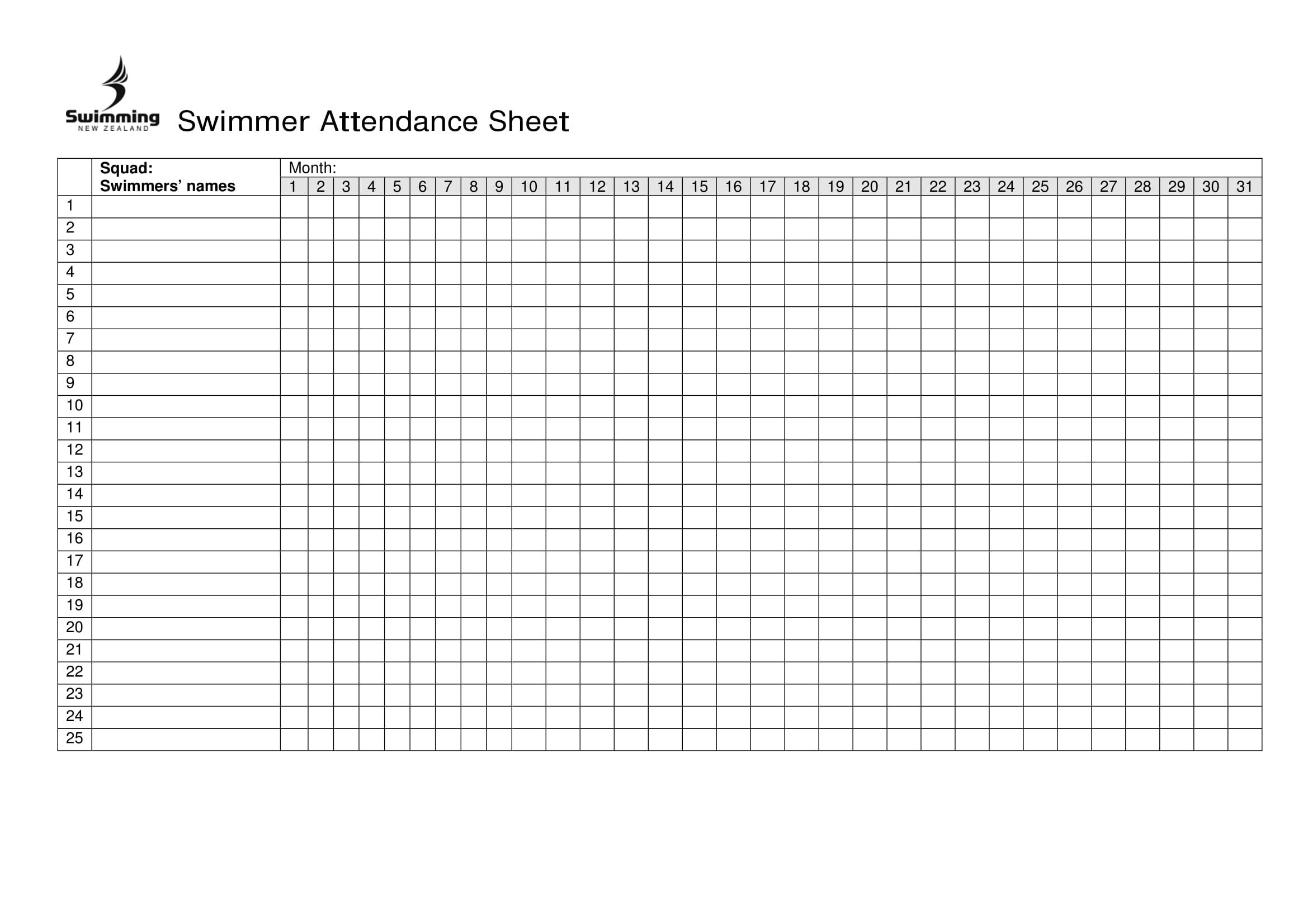 Free Printable Attendance Sheet Excel Word Template