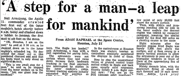 Guardian article headline: Apollo 11 moon landing