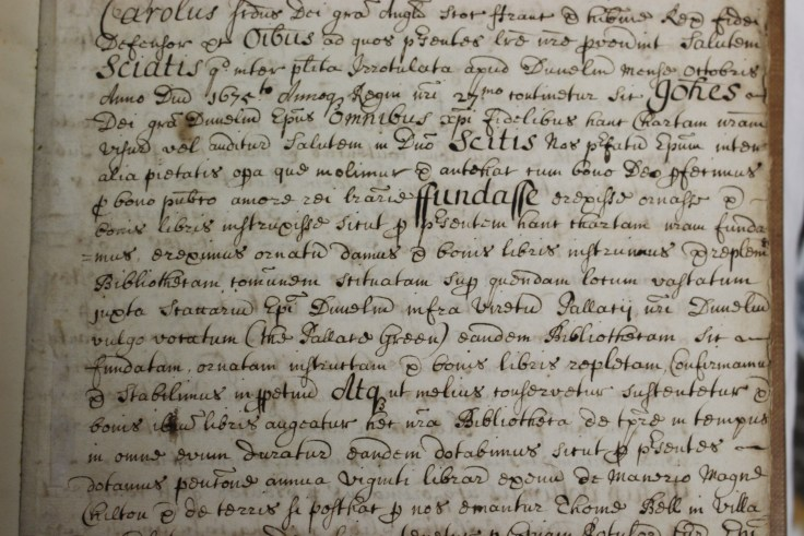 Detail of the copy of the confirmation of John Cosin's charter by Charles II, dated 23 October 1675