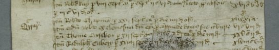 Detail of a medieval work account showing a payment to Robert Chapment from the bishop of Durham