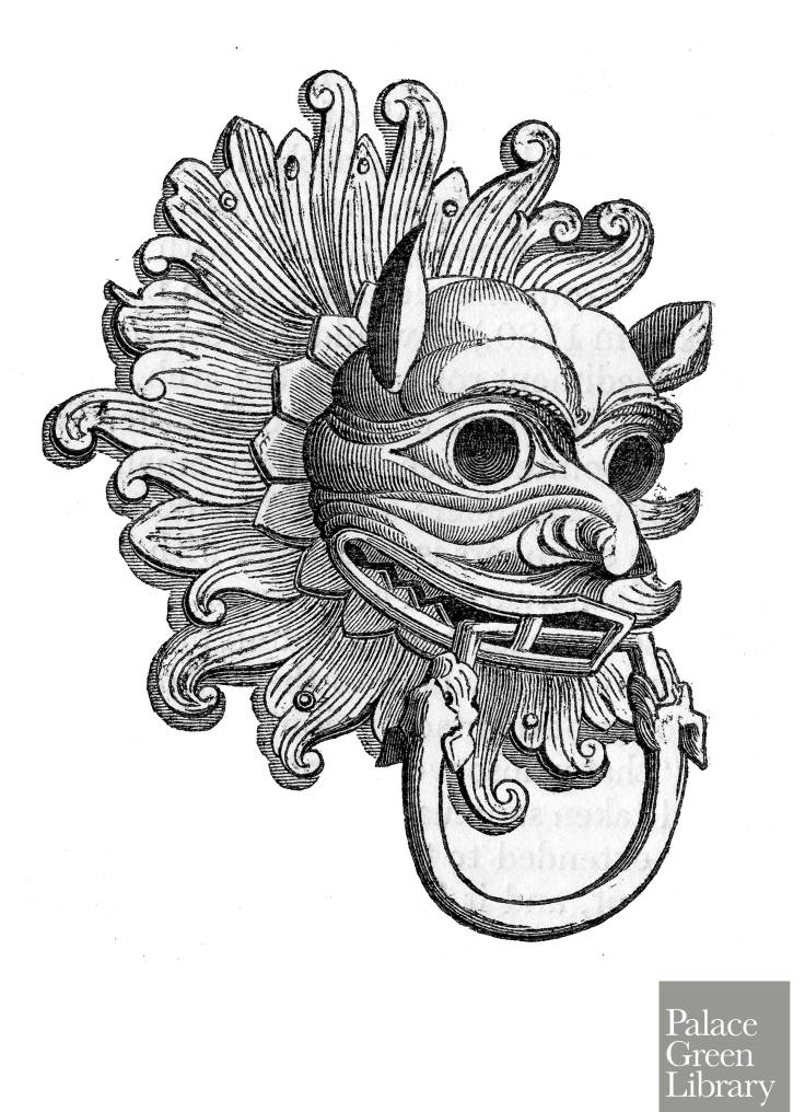 Black and white drawing of the Sanctuary Knocker at Durham Cathedral. It has the shape of a lion's head.
