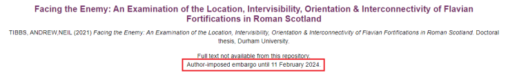Screenshot of theses from Durham etheses showing how a record is displayed if under embargo.