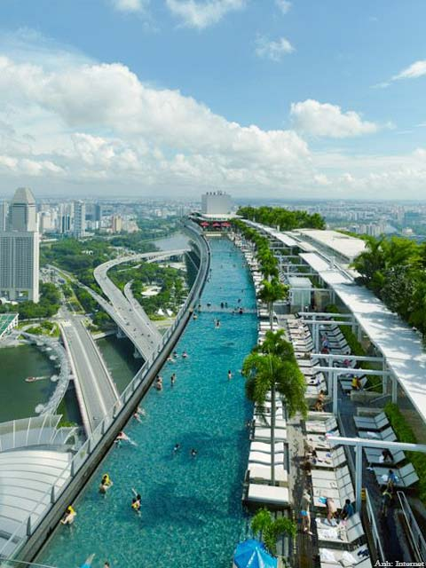 Từ trên sân thượng tòa nhà Marina Bay Sand Singapore