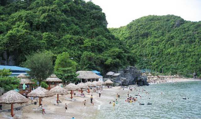 Bãi biển trên đảo Cát Bà