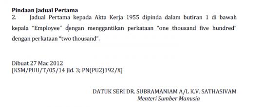 pindaan pada jadual pertama P.U. (A) 88/2012