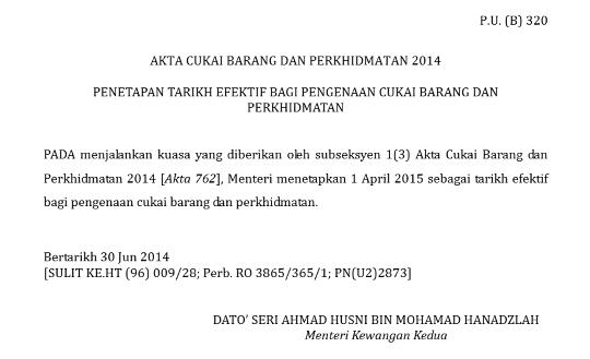 GST Malaysia Date
