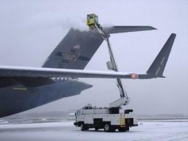 Monaco Air, an FBO, deices a transient military aircraft