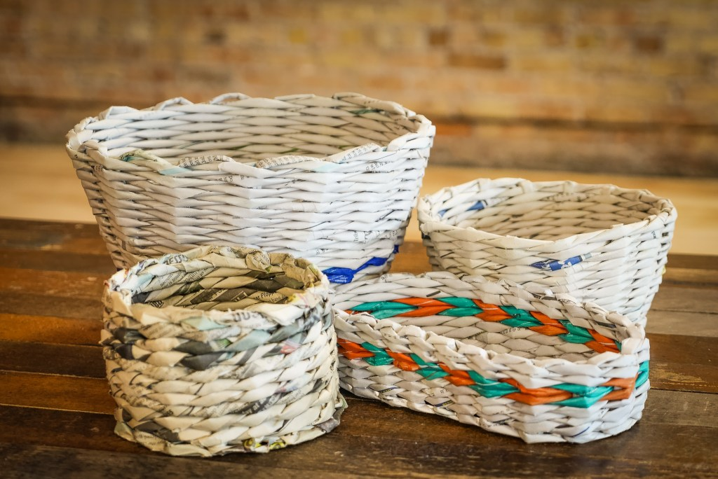 Photo of newspaper weaving