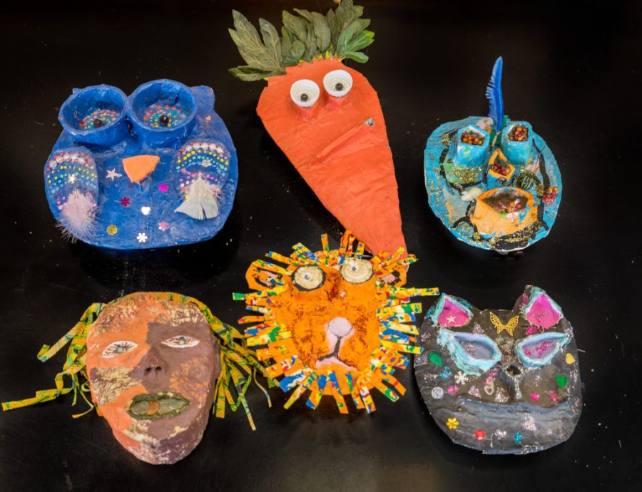 Paper mache masks at the Duluth Folk School