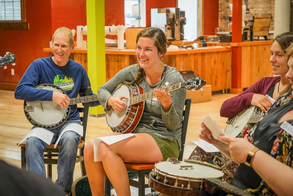 Banjo class at the Duluth Folk School