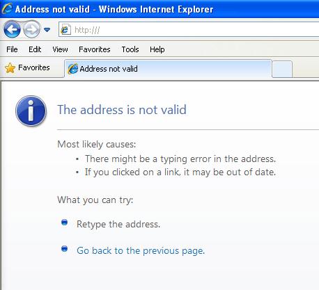 Address not valid - Windows Internet Explorer