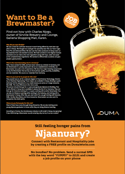 Duma Works shares What It Takes to get a career as a brewmaster in Kenya. This featured in the Yummy Magazine in the February edition.