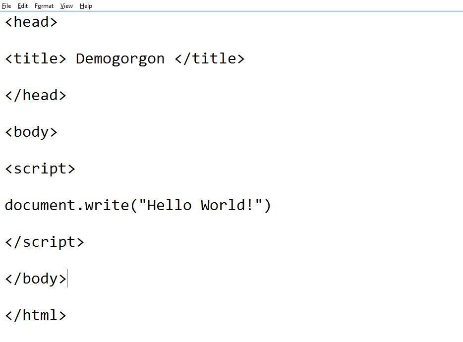 printing Javascript Hello World using document.write()