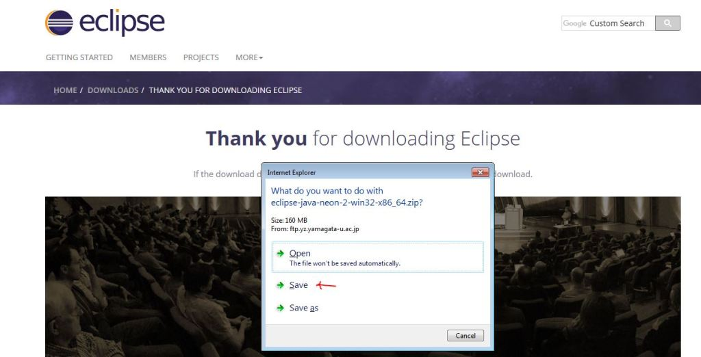 The zip downloading box for Eclipse IDE