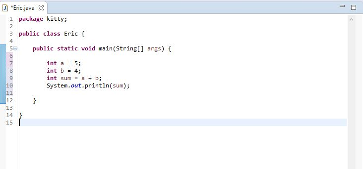 image for an addition program in Java