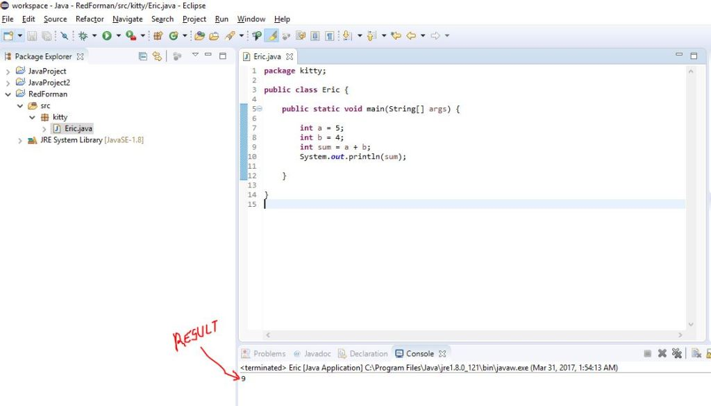 result of java addition program in Eclipse
