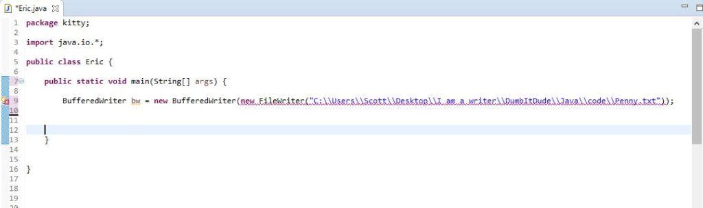 declaration of BufferedWriter class and FileWriter Class