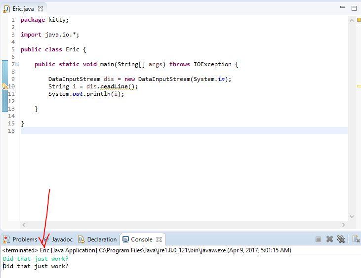 using the deprecated readLine() from DataInputStream to read String