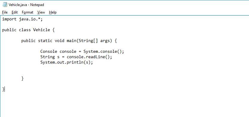 final look of console program in Java