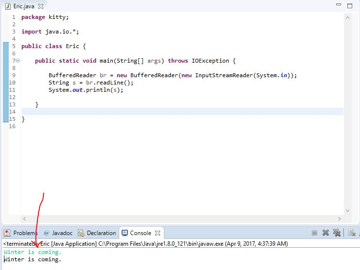 result of printing using BufferedReader Class in Java