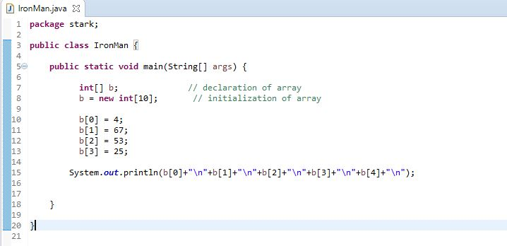 how to initialize an array in java example