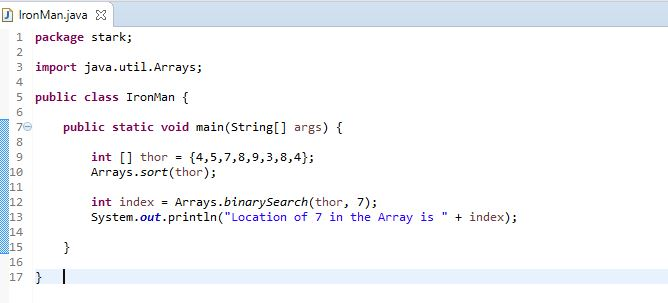 using binarySearch method to locate index in Java