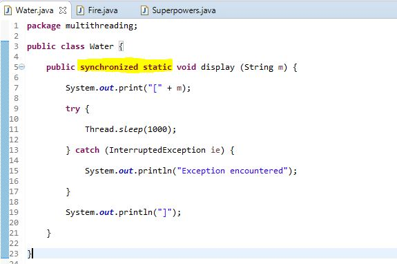 synchronized static method in java