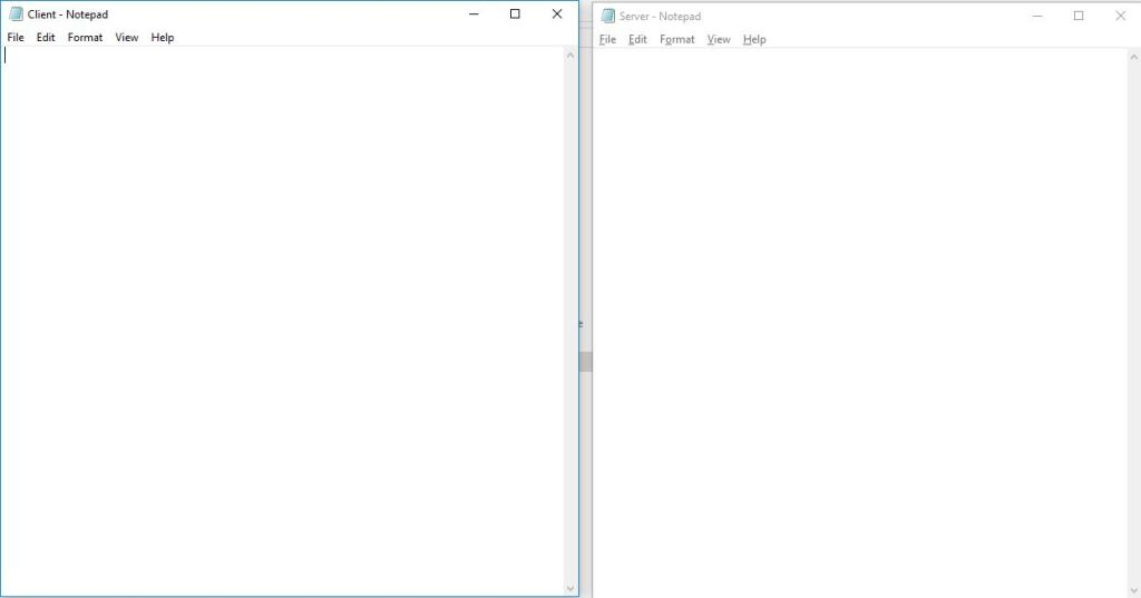two blank notepad files named client and server