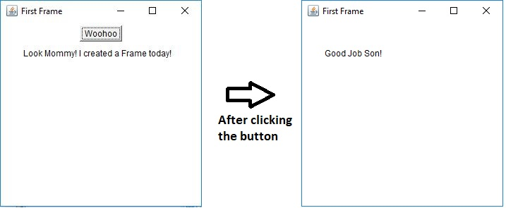 frame output result on clicking button awt