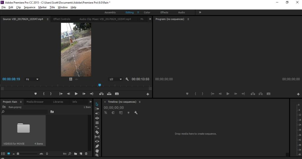 project panel added video in premiere pro