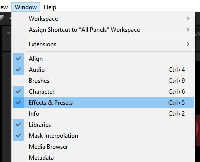 Effects and Presets option in Window menu