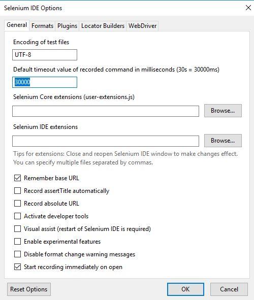 Selenium IDE options general tab