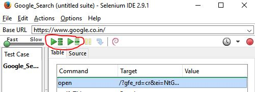 playback button in Selenium IDE