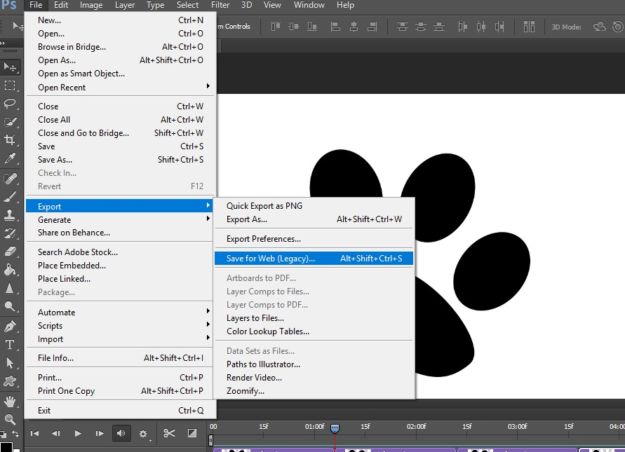 save for web option in photoshop