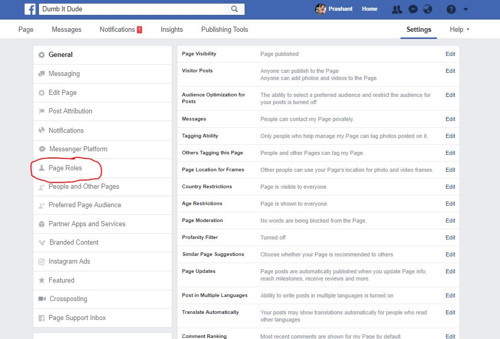 clicking page roles option in Facebook Page