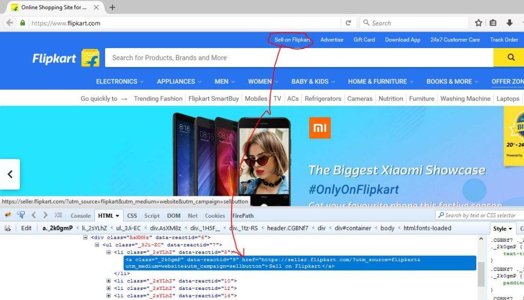 html link on flipkart info