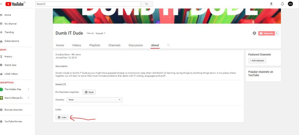 links option in youtube about page
