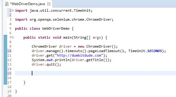 page load timeout example in selenium Webdriver
