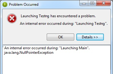 An internal error occurred during Launching TestNGFile for selenium in Eclipse IDE