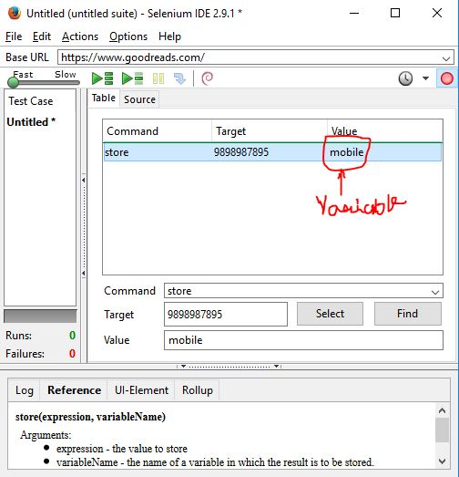 storing variables in Selenium IDE